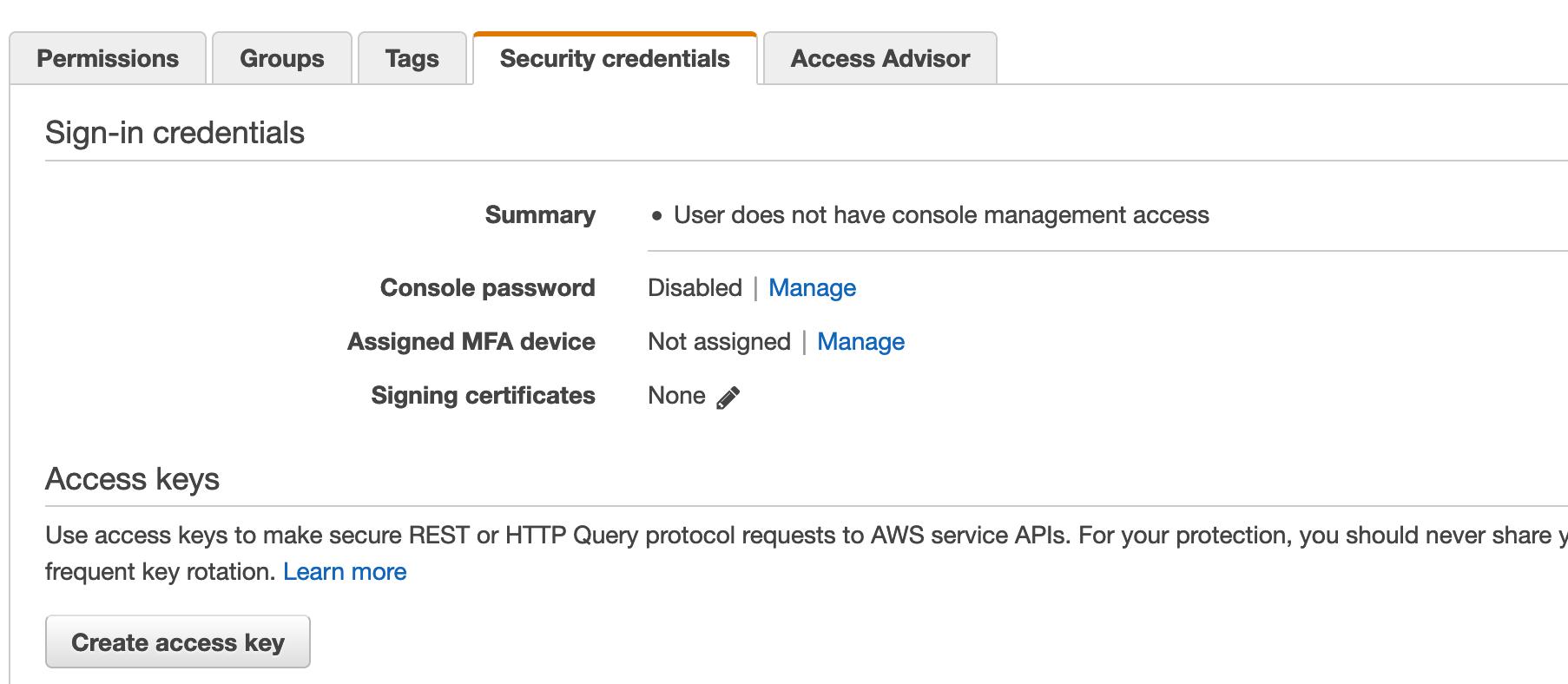 AWS IAM Security Credentials