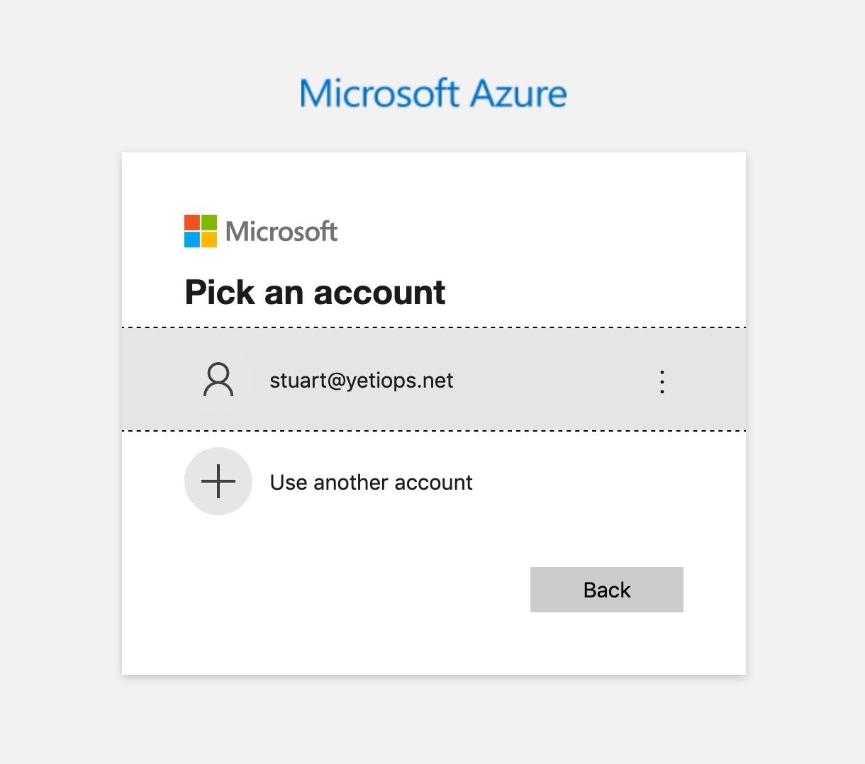 Azure Login Screen