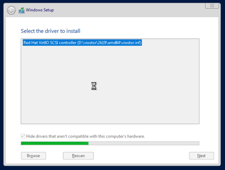 proxmox win install vm select driver
