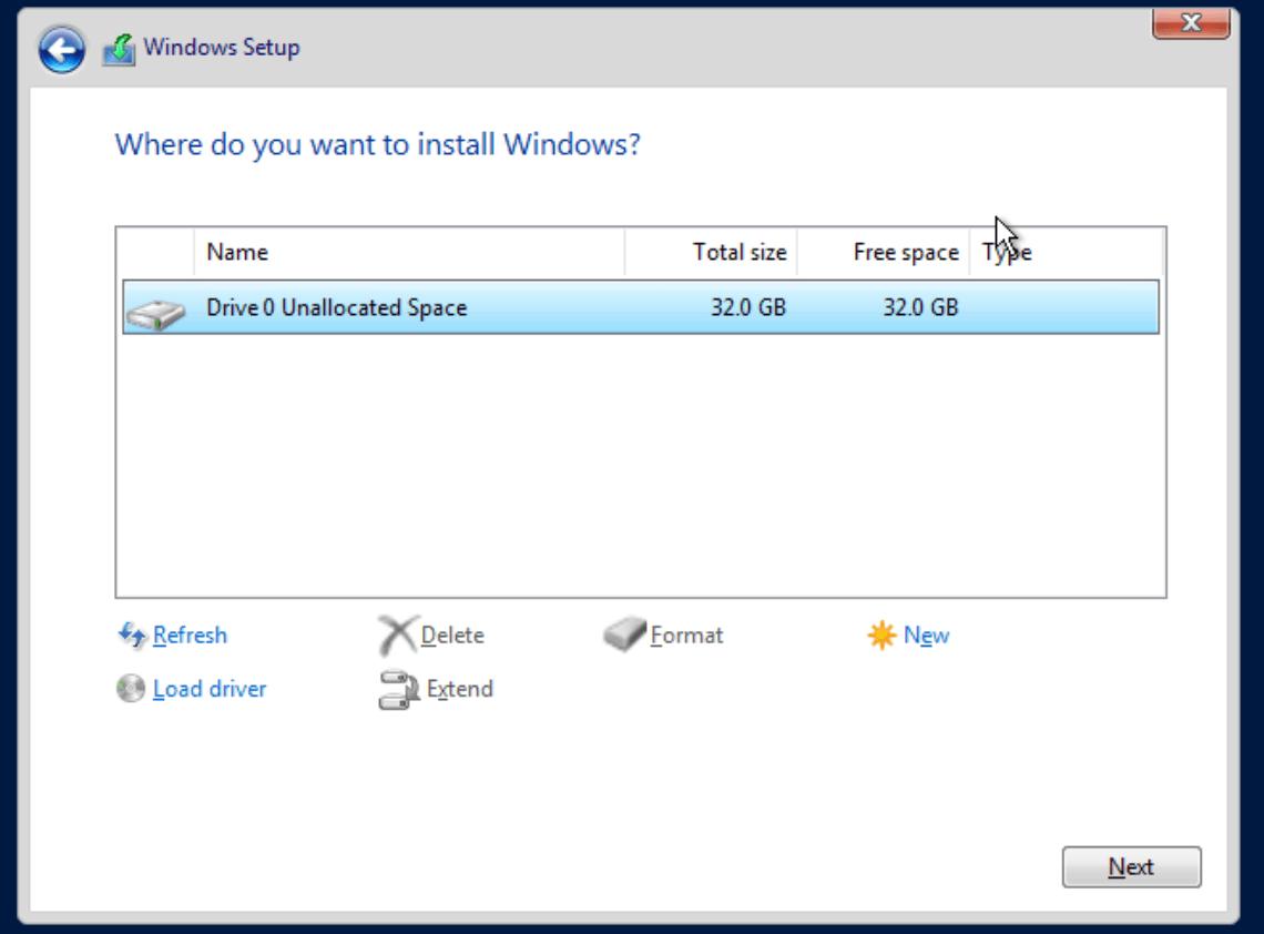 proxmox win install vm disk