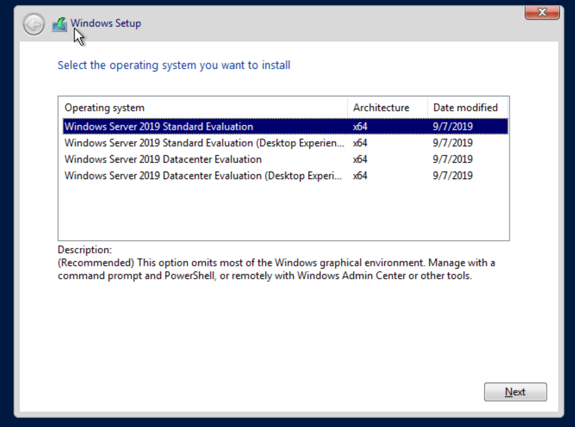 proxmox win install vm win version