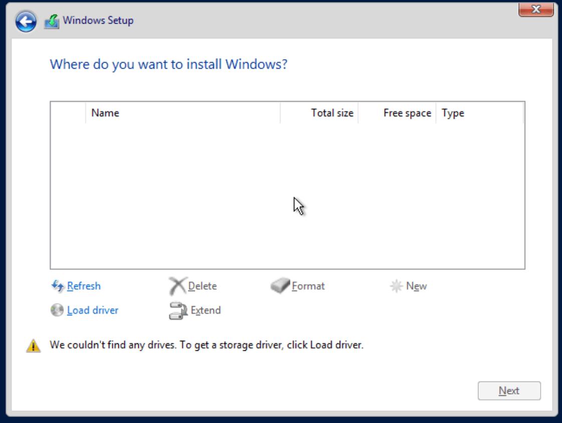proxmox win install vm no disk