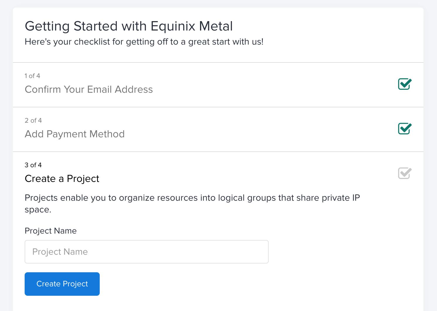 Equinix Metal - Create a project